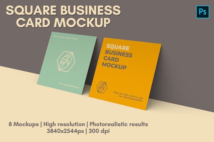 Square Business Card Mock-up - 8 views example image 1