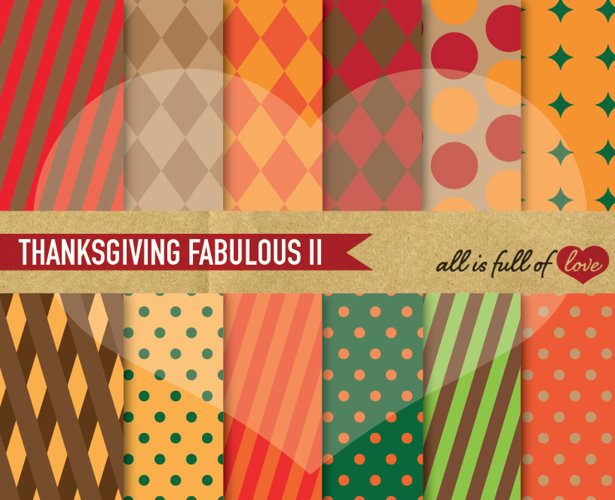 Thanksgiving Digital Paper Harvest day Background Patterns