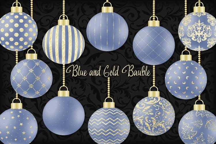 Blue and Gold Christmas Bauble example image 1