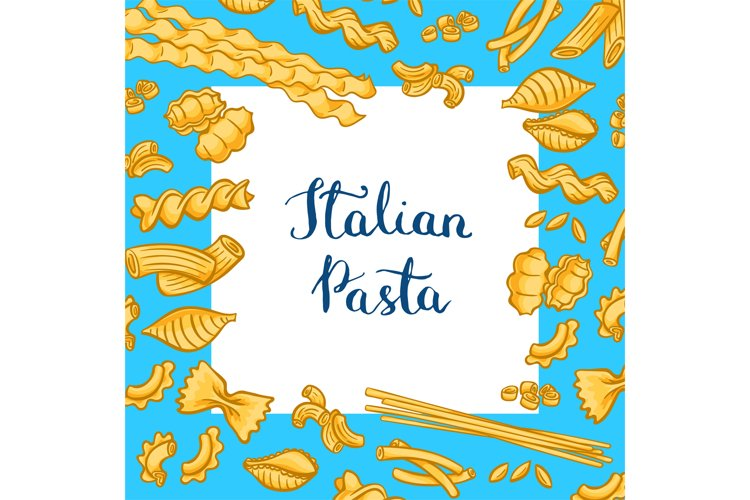 Vector cartoon colored pasta types background with white squ example image 1