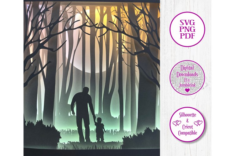 Dad with Child in Woods - 3D Paper Cut Template Light Box example image 1