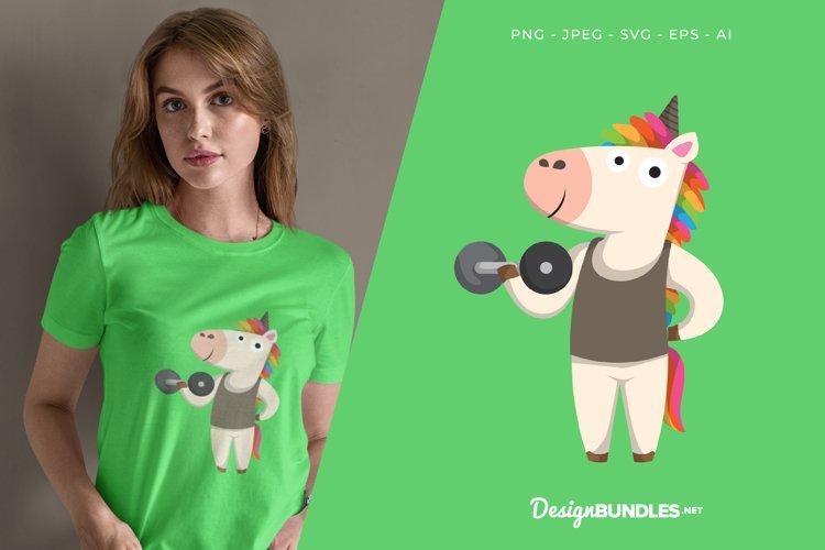 Unicorn Lifting Dumbbell Vector Illustration For T-Shirt