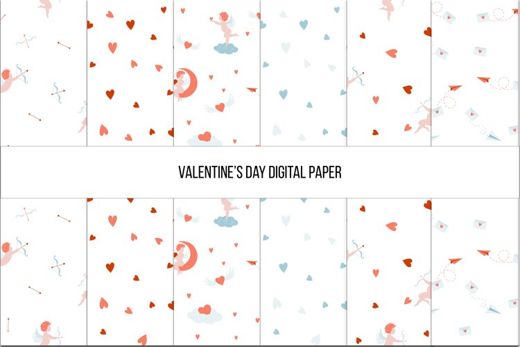Valentine's Day Digital paper, Seamless Pattern example image 1