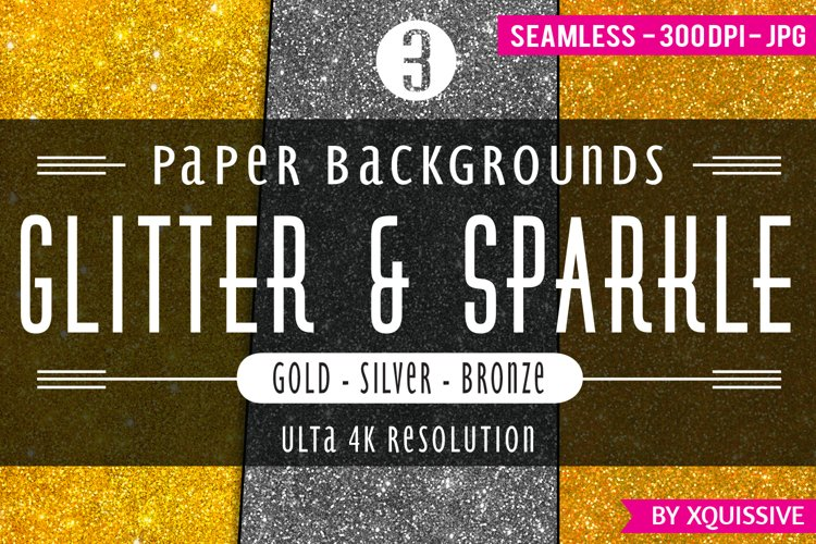 Glitter & Sparkle Paper Backgrounds - Gold / Silver / Bronze bundle example image 1