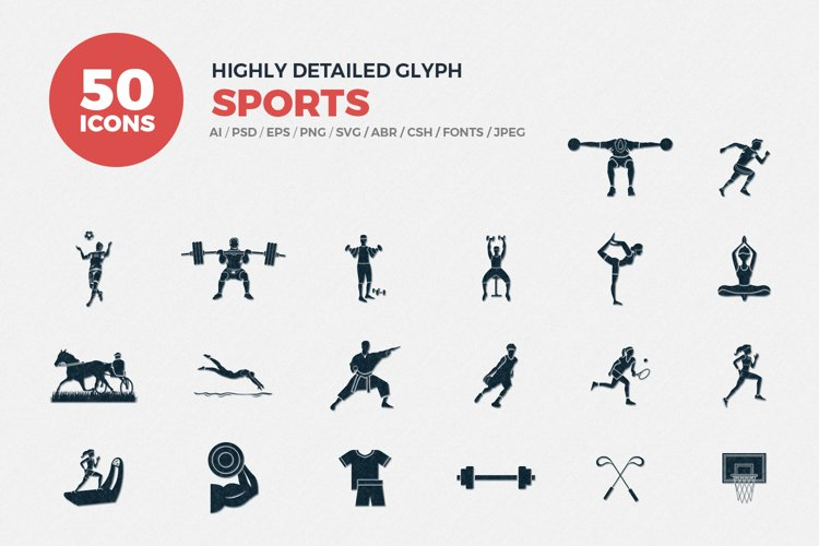 Glyph Sports Icons Set