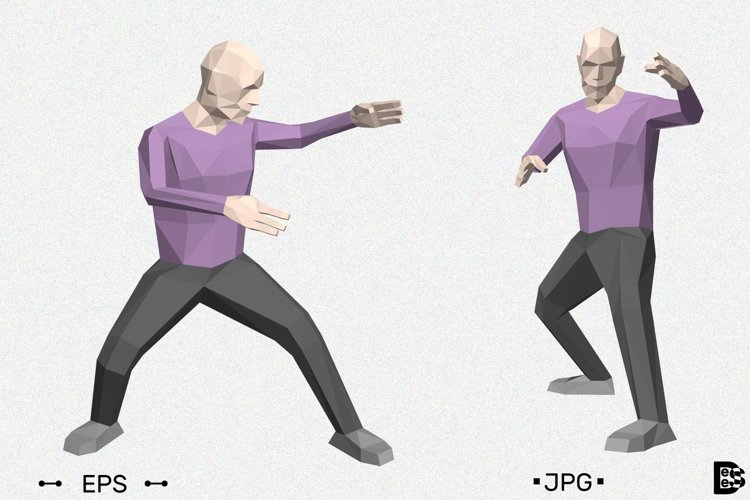 Kung fu	low poly man. 3d vector illustration. example image 1