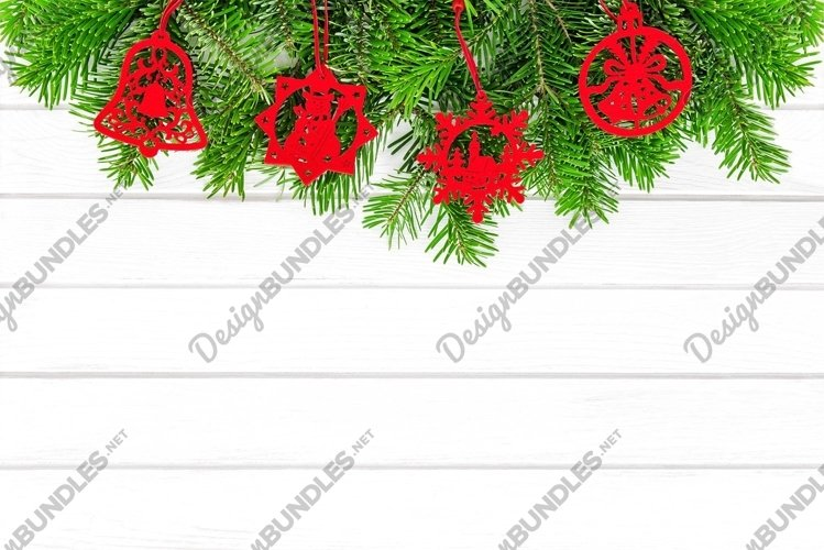 Red Christmas ornaments white wood background example image 1
