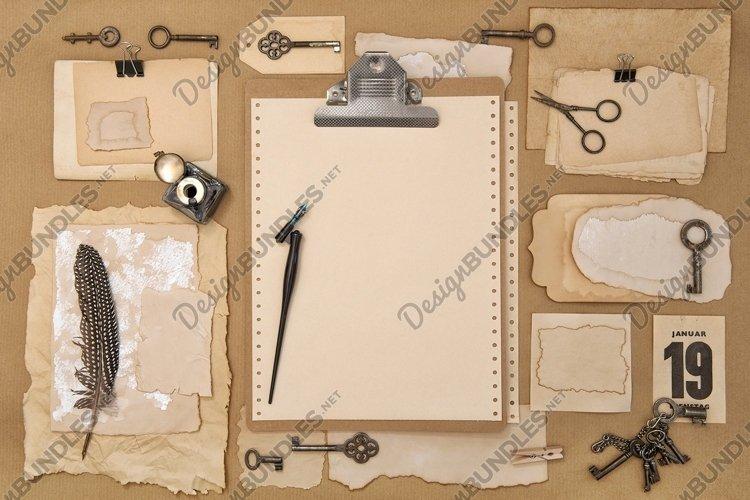 Paper, clipboard, scrapbooking writing tools flat lay JPG example image 1