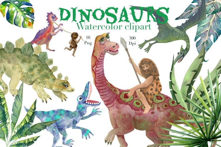 Dinosaurs watercolor clipart,png,Childrens room decor .