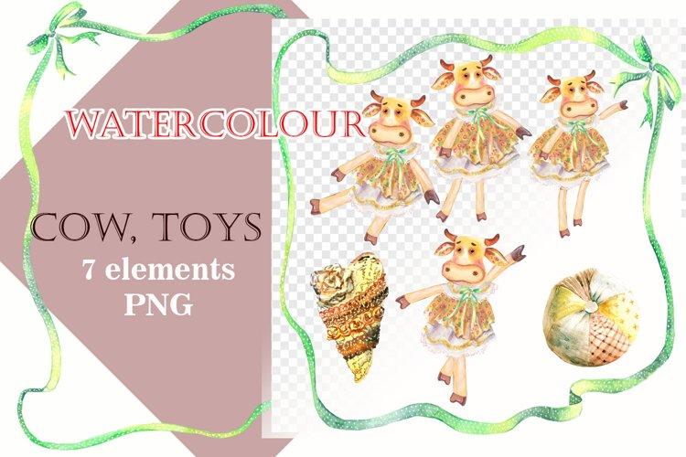 Cows Tilda clip art, Watercolor clip art, Toys clipart