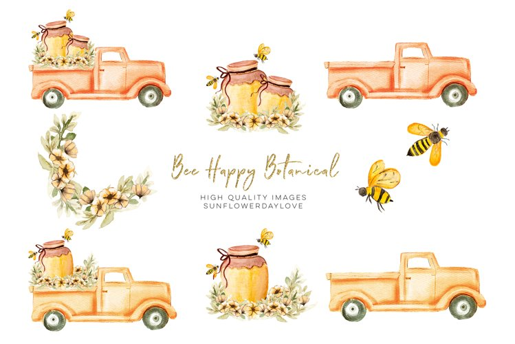 Bee Happy Botanical Clipart, Bee Floral Clip Art