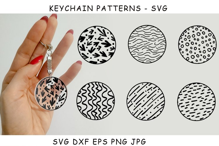 Keychain design SVG. Pattern in a circle.