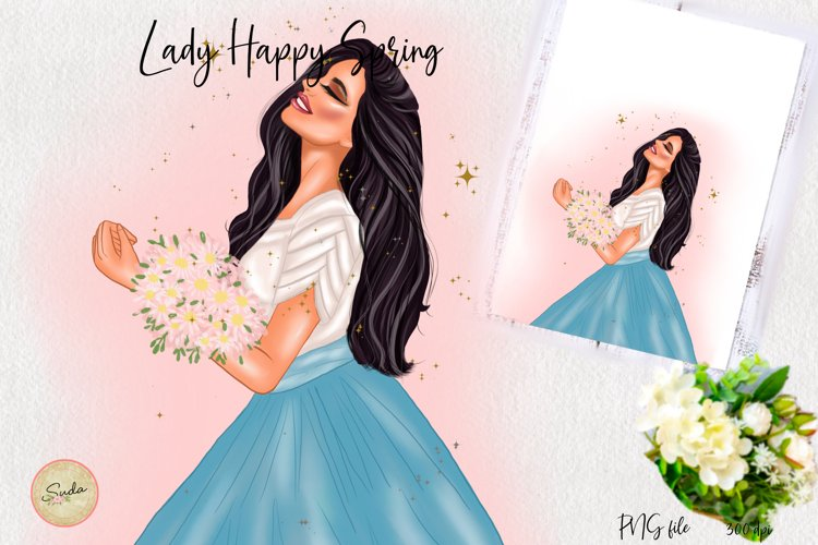 Lady Happy Spring Clipart