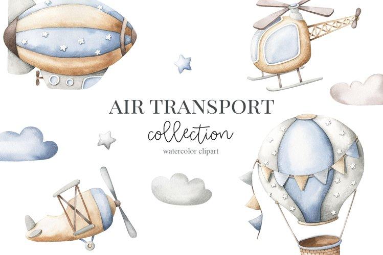 Air transport - watercolor set