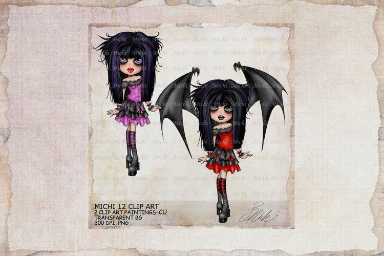 Michi 12 Cute Gothic Halloween Girl Clip Art