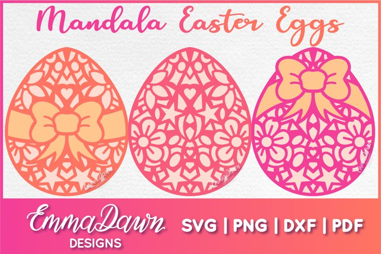 MANDALA EASTER EGGS SVG 3 MANDALA / ZENTANGLE DESIGNS example image 1