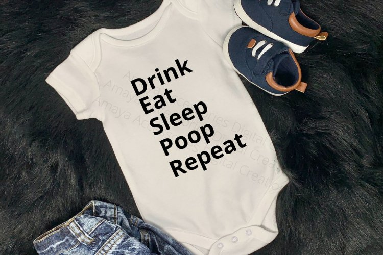 Drink Sleep Eat Repeat Svg, Cute Baby Quotes example image 1