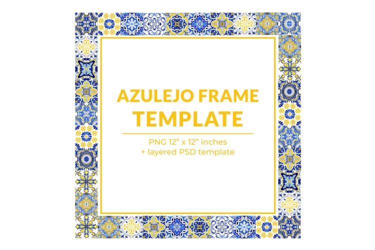 Square Azulejo Postcard Template PSD Printable, PNG, JPEG