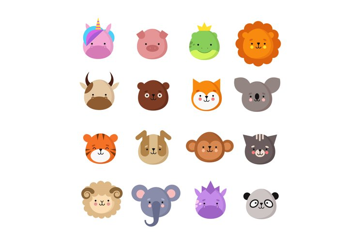 Cute animals faces. Dog and cat, cow and fox, unicorn and pa example image 1