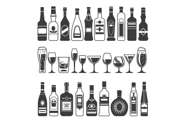 Monochrome illustrations of black pictures of alcoholic bott example image 1