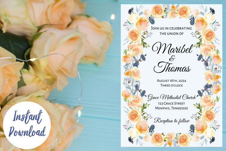 Peach and Dusk Blue Watercolor Wedding Invitation example image 1