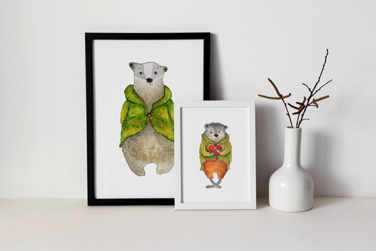 Cute animals Hand painted illustration set fox, bear, badger example 1