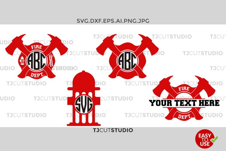 Firefighter Svg, Fireman Monogram Svg, Firefighter Circle Monogram, Svg Files for Silhouette Cameo or Cricut Commercial & Personal Use example image 1