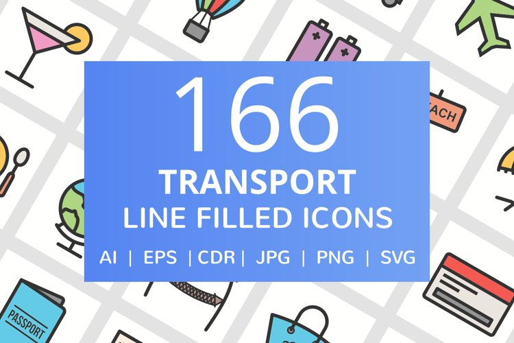 166 Transport Filled Line Icons example image 1