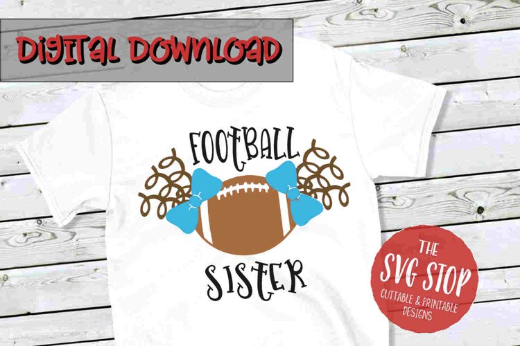 Pigtail Football Sister -SVG, PNG, DXF