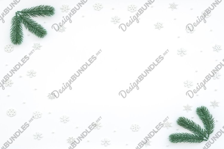 Christmas, New Year or winter white background with fir tree example image 1