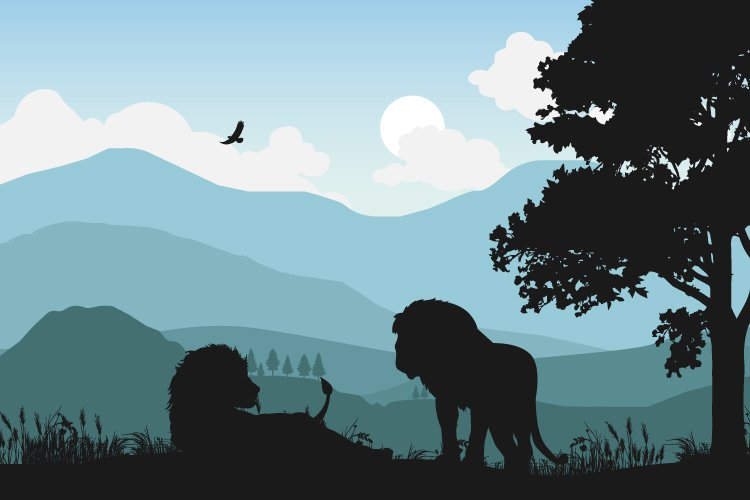 lion silhouette, simple vector illustration example image 1