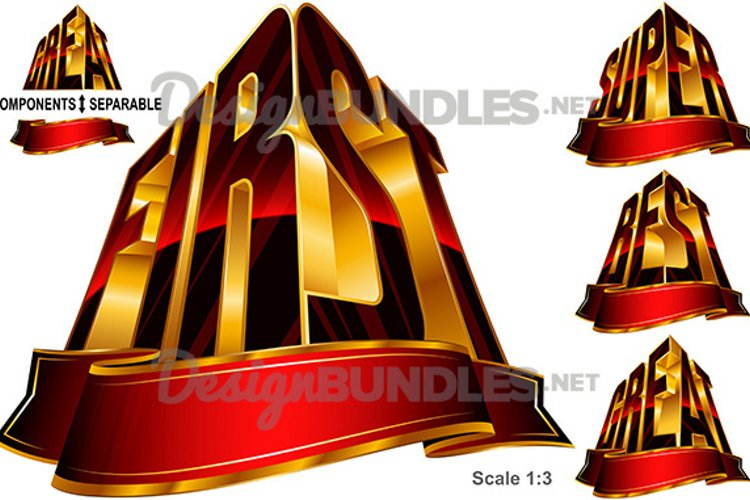 Vector Great Best First Super Word Shape Ribbon Red Gold example image 1