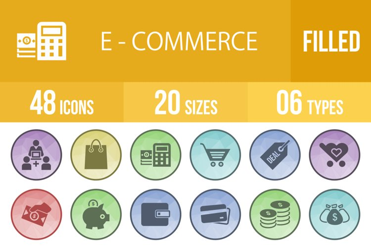 48 Ecommerce Filled Low Poly Icons example image 1