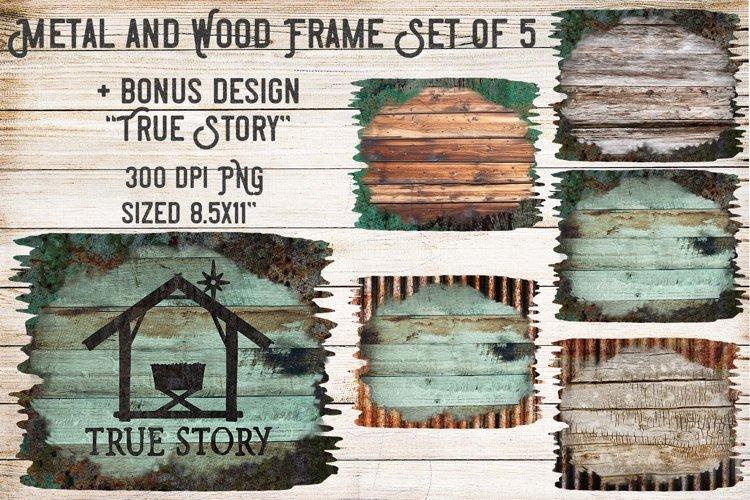 Metal & Wood Frame Set of 5- Clipart Design example image 1