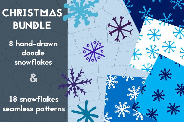 Christmas bundle with snowflakes and patterns example image 1