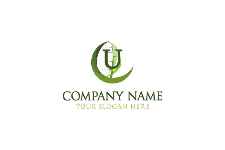 initial logo U healthy leaf example image 1