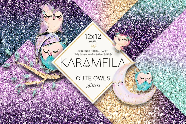 Cute Owls Glitter Patterns example image 1