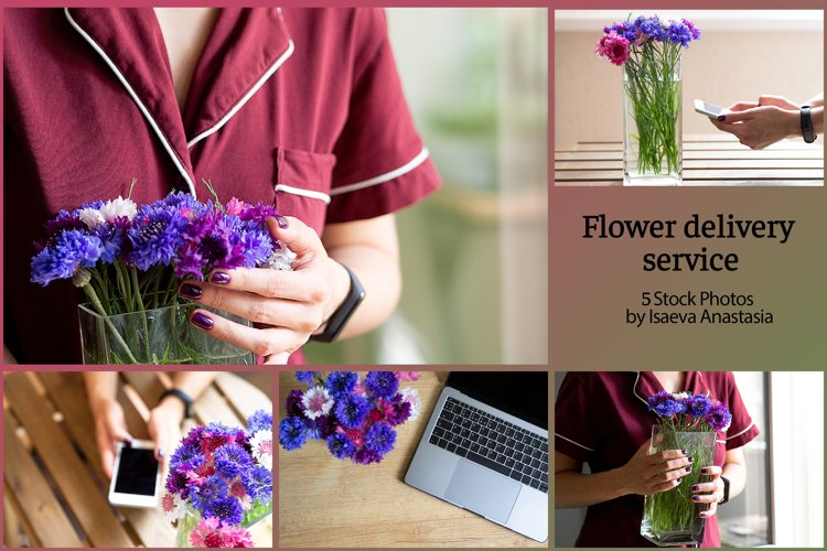 Delivery flowers service.Online order in a flower shop example image 1