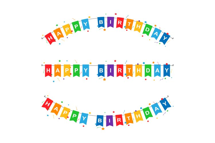 Happy Birthday Party Flags Vector Illustration example image 1
