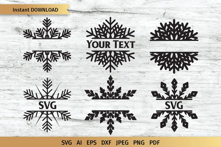 Snowflake SVG | Split Monogram SVG example image 1