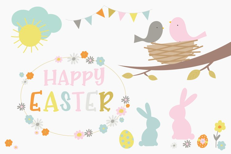 Happy Easter clipart and paper set