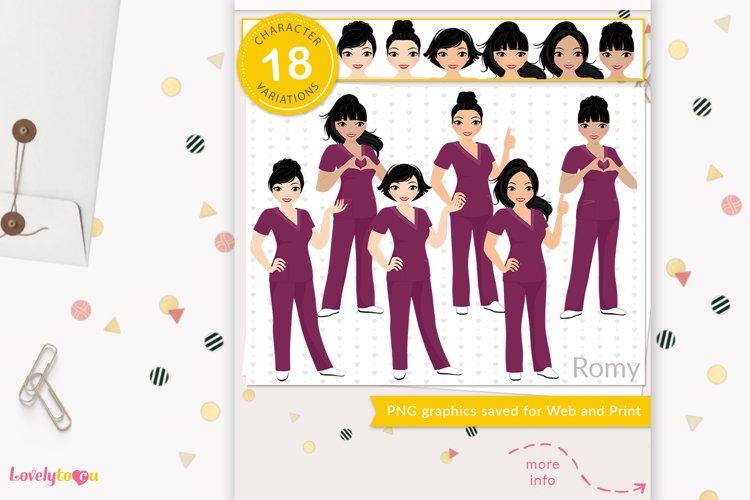 Asian nurse clipart, healthcare worker avatar, LVX15 Romy