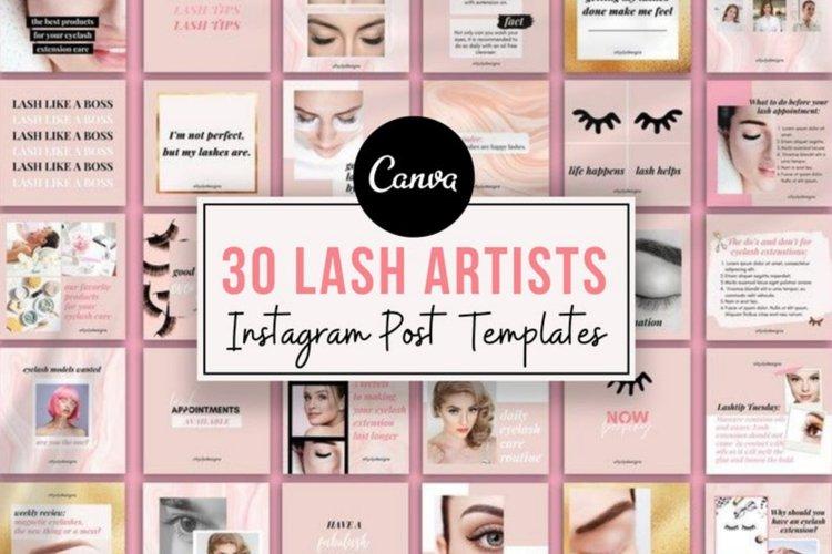 30 Eyelash Lash Artists Instagram Post templates Canva