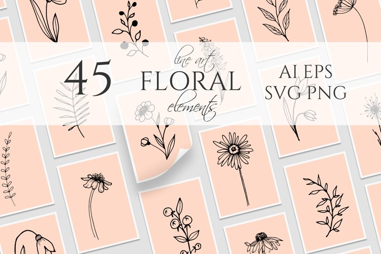 Wildflowers and stems SVG, PNG. Hand drawn doodle flowers example image 1