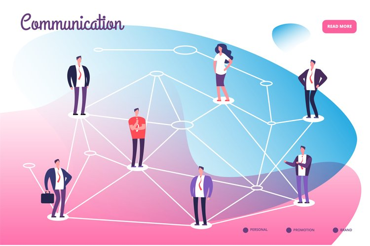 Network connecting professional people. Global communication example image 1