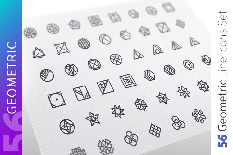 Geometric Line Icons Set example image 1