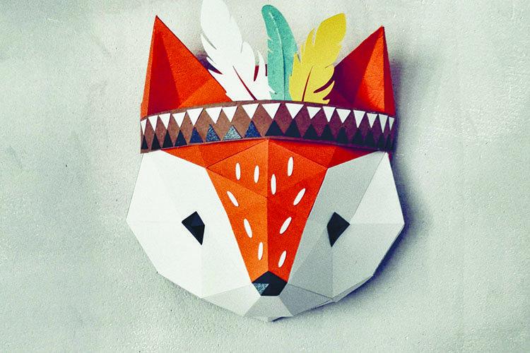 3D model of tribal fox,pattern pdf,dxf,svg file,scanncut.