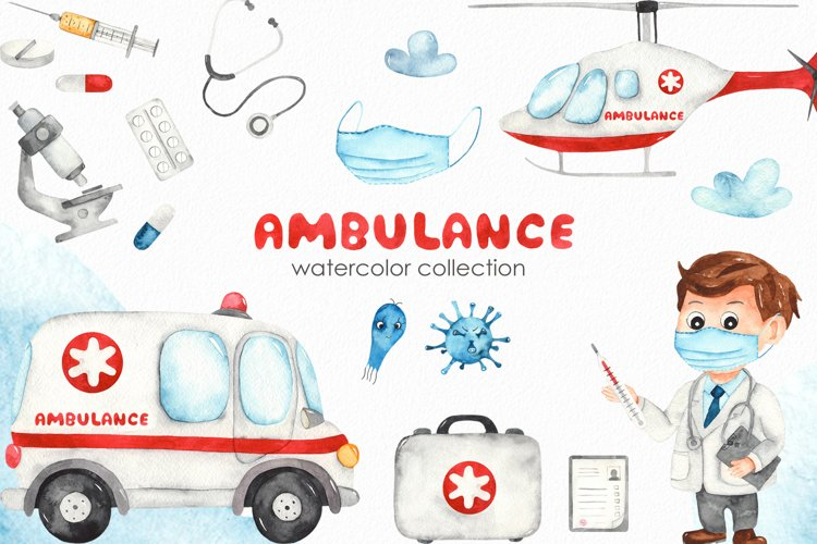 Watercolor Ambulance. Clipart, cards, seamless patterns example image 1