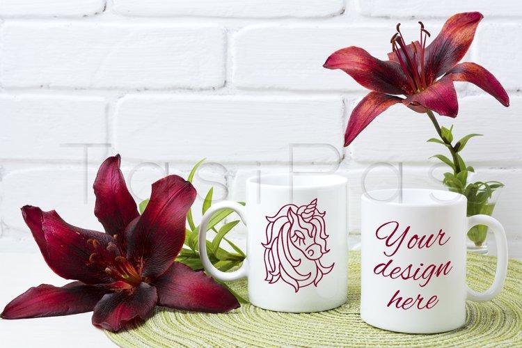Two coffee mug mockup with burgundy lily example image 1