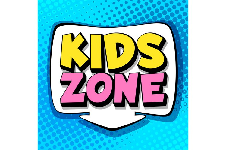Kids zone. Symbol of playroom in school or park, colorful is example image 1